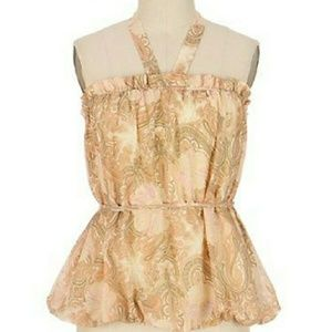 ANTHROPOLOGIE FEI Grand Peony Halter Bubble Top